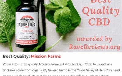 RaveReviews.org votes Mission Farms as Best Quality CBD