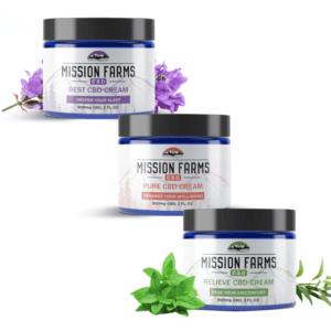 Three-pack of CBD Creams – Pure, Relieve, and Rest CBD Creams